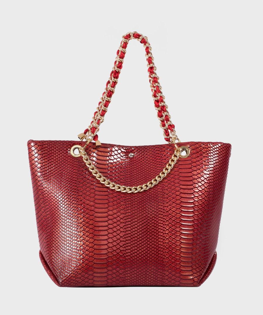 borsa donna rossa ecopelle
