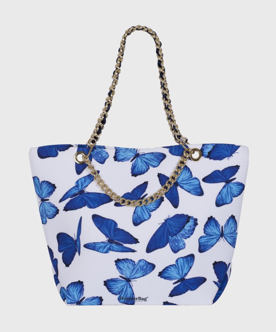 borsa bianca farfalle